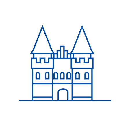 Castle in europe line concept icon. Castle in europe flat  vector website sign, outline symbol, illustration.