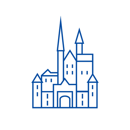 Castle in germany line concept icon. Castle in germany flat  vector website sign, outline symbol, illustration. Archivio Fotografico - 119711670