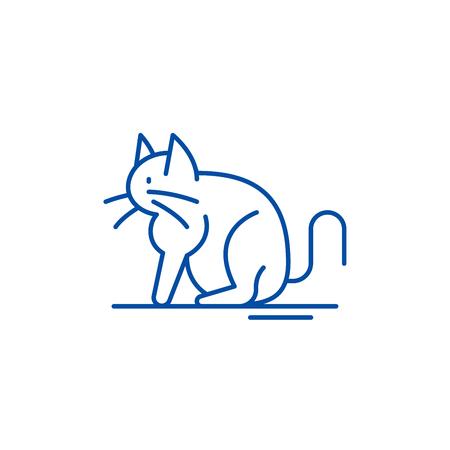 Cat line concept icon. Cat flat  vector website sign, outline symbol, illustration. Ilustração