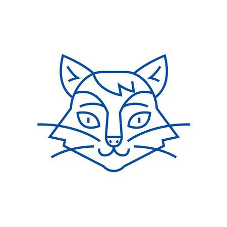 Cat head line concept icon. Cat head flat  vector website sign, outline symbol, illustration.