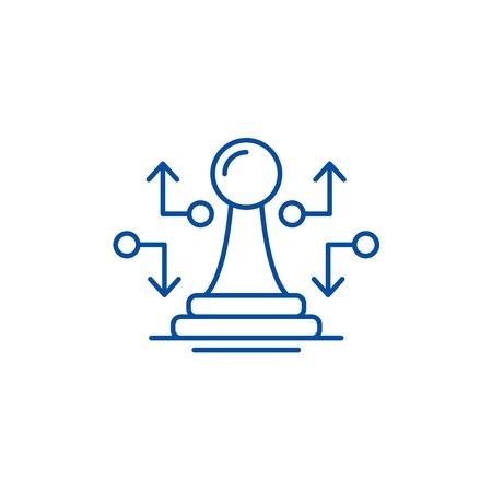 Strategic move line concept icon. Strategic move flat  vector website sign, outline symbol, illustration.