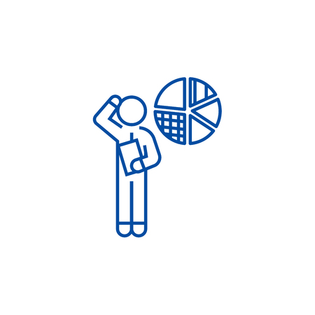 Strategic planning, financial idea line concept icon. Strategic planning, financial idea flat  vector website sign, outline symbol, illustration.