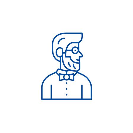 Stylist line concept icon. Stylist flat  vector website sign, outline symbol, illustration.