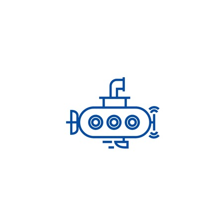 Submarine line concept icon. Submarine flat  vector website sign, outline symbol, illustration.
