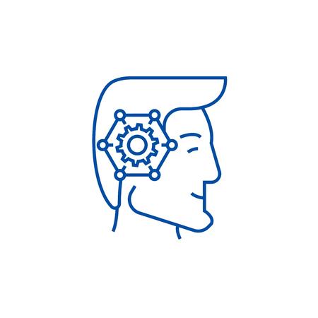 Strategic thinking head line concept icon. Strategic thinking head flat  vector website sign, outline symbol, illustration. Illustration