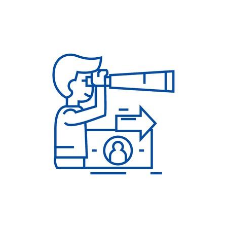 Strategic vision, planning, man  line concept icon. Strategic vision, planning, man  flat  vector website sign, outline symbol, illustration.