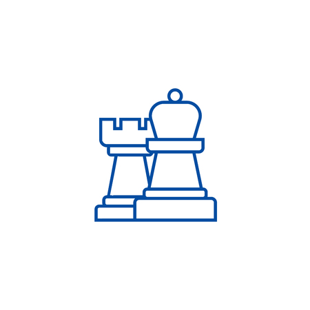 Strategy,chess line concept icon. Strategy,chess flat  vector website sign, outline symbol, illustration.