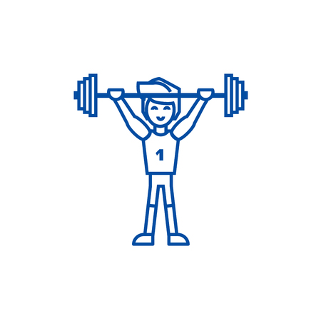 Strong athlete with weights  line concept icon. Strong athlete with weights  flat  vector website sign, outline symbol, illustration.