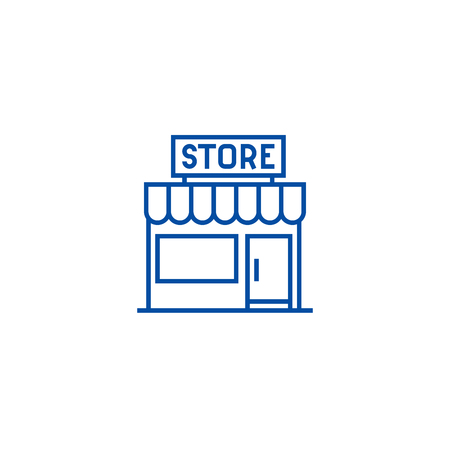 Store sign line concept icon. Store sign flat  vector website sign, outline symbol, illustration.