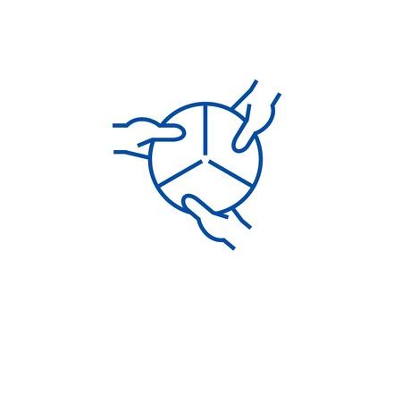Strategic management line concept icon. Strategic management flat  vector website sign, outline symbol, illustration.