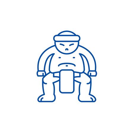 Sumo line concept icon. Sumo flat  vector website sign, outline symbol, illustration. Stock Vector - 119711723