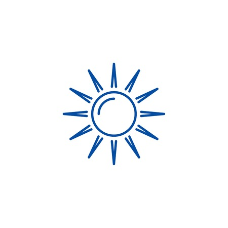 Sun line concept icon. Sun flat  vector website sign, outline symbol, illustration.