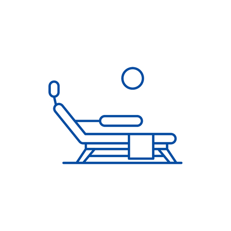 Sunbed on the beach line concept icon. Sunbed on the beach flat  vector website sign, outline symbol, illustration.