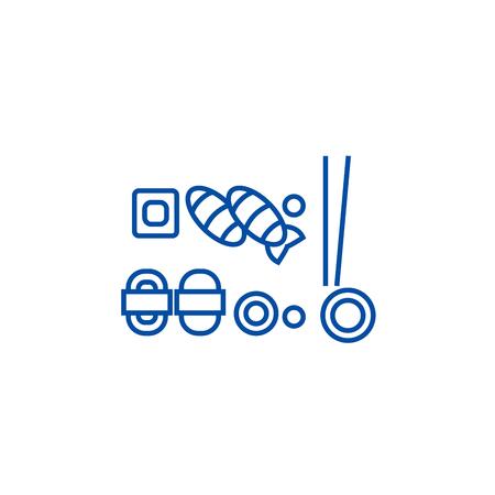 Sushi mix line concept icon. Sushi mix flat  vector website sign, outline symbol, illustration.