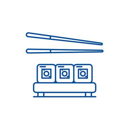 Sushi restaurant line concept icon. Sushi restaurant flat  vector website sign, outline symbol, illustration.
