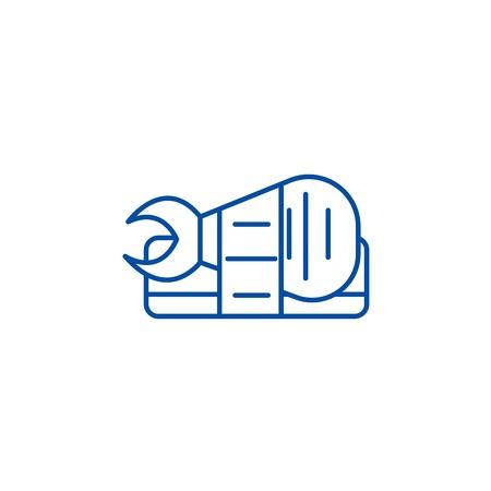 Sushi roll sign line concept icon. Sushi roll sign flat  vector website sign, outline symbol, illustration.