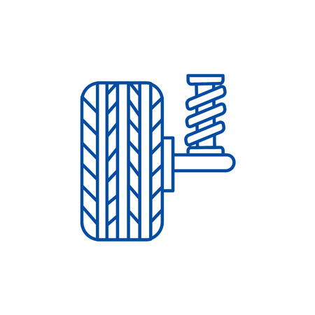 Suspension, car, auto  line concept icon. Suspension, car, auto  flat  vector website sign, outline symbol, illustration.