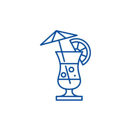 Summer cocktail line concept icon. Summer cocktail flat  vector website sign, outline symbol, illustration. 向量圖像