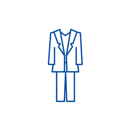 Suit line concept icon. Suit flat  vector website sign, outline symbol, illustration.