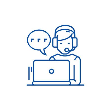 Support,customer service,man  line concept icon. Support,customer service,man  flat  vector website sign, outline symbol, illustration.
