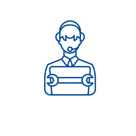 Supporting business line concept icon. Supporting business flat  vector website sign, outline symbol, illustration.