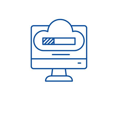 System reboot line concept icon. System reboot flat  vector website sign, outline symbol, illustration. Illustration
