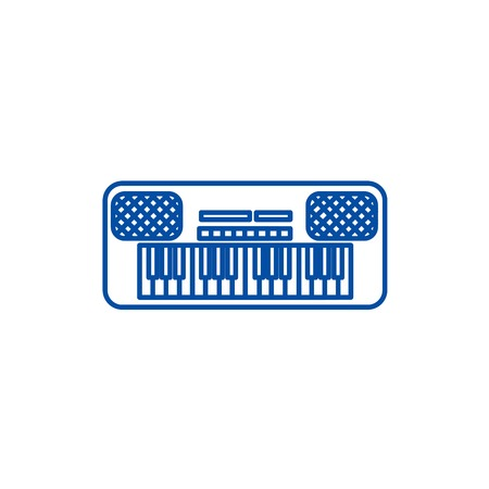 Synthesizer line concept icon. Synthesizer flat  vector website sign, outline symbol, illustration.