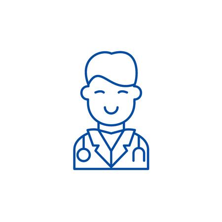 Surgeon line concept icon. Surgeon flat  vector website sign, outline symbol, illustration.