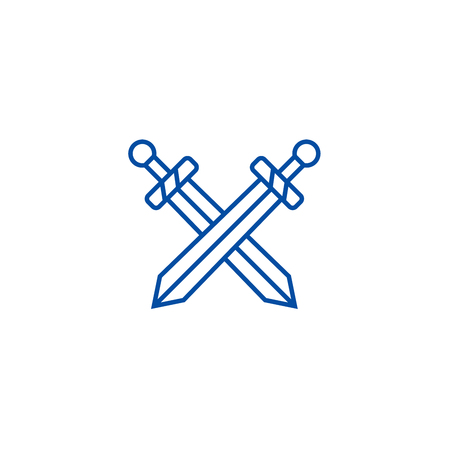 Swords line concept icon. Swords flat  vector website sign, outline symbol, illustration.