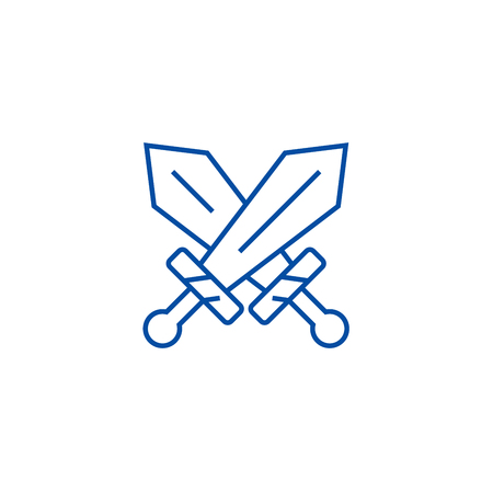 Swords sign line concept icon. Swords sign flat  vector website sign, outline symbol, illustration.