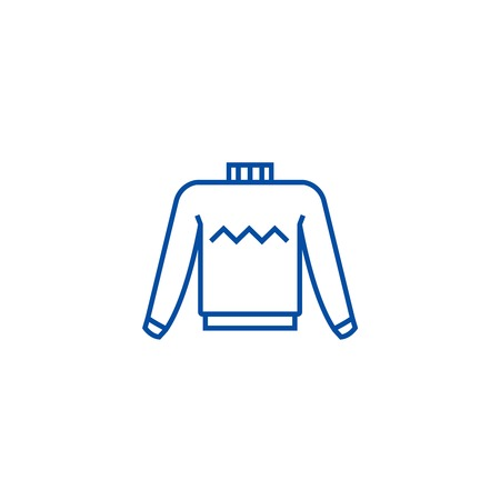Sweater line concept icon. Sweater flat  vector website sign, outline symbol, illustration.