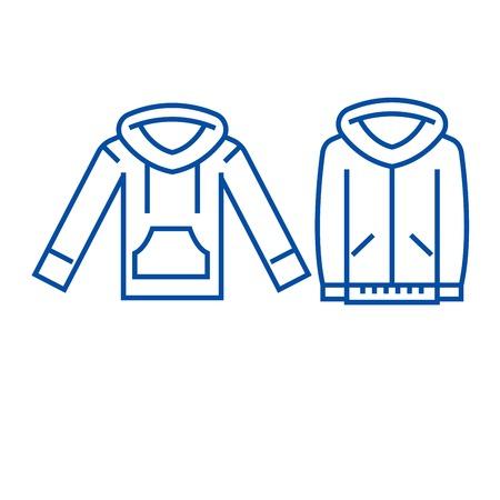 Sweatshirt hoodie line concept icon. Sweatshirt hoodie flat  vector website sign, outline symbol, illustration.
