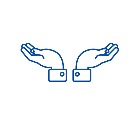 Support hands  line concept icon. Support hands  flat  vector website sign, outline symbol, illustration.