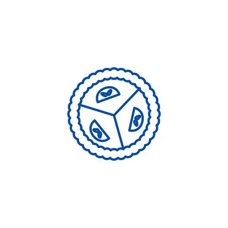 Sweet dessert pie line concept icon. Sweet dessert pie flat  vector website sign, outline symbol, illustration. Illustration