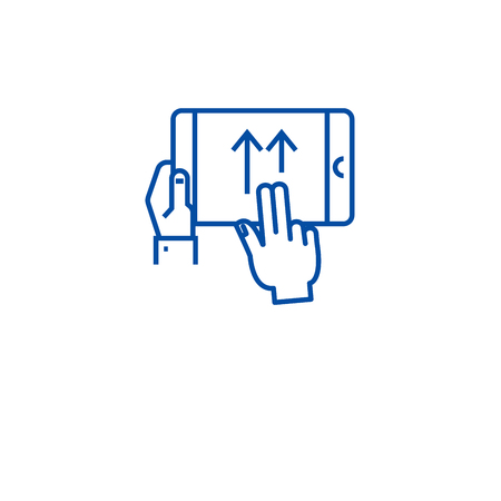 Swipe gesture line concept icon. Swipe gesture flat  vector website sign, outline symbol, illustration. Illustration