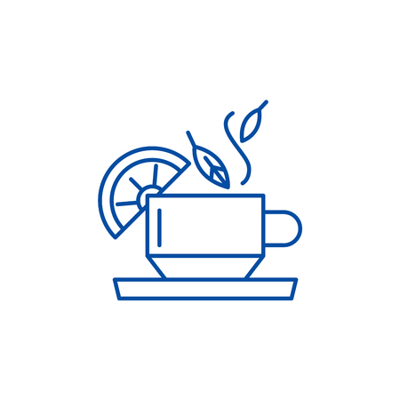 Tea for health line concept icon. Tea for health flat  vector website sign, outline symbol, illustration.  イラスト・ベクター素材