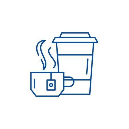 Tea party line concept icon. Tea party flat  vector website sign, outline symbol, illustration. Çizim