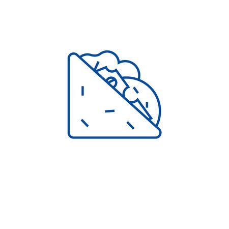 Tasty sandich line concept icon. Tasty sandich flat  vector website sign, outline symbol, illustration.