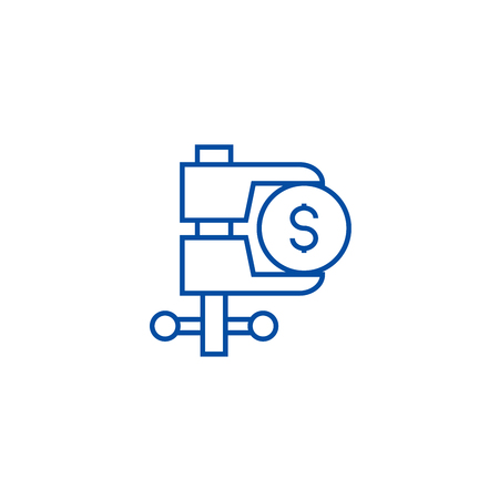 Tax reduction line concept icon. Tax reduction flat  vector website sign, outline symbol, illustration. Banque d'images - 119711845