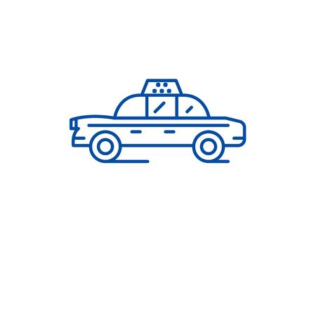 Taxi car line concept icon. Taxi car flat  vector website sign, outline symbol, illustration. Banque d'images - 119711846