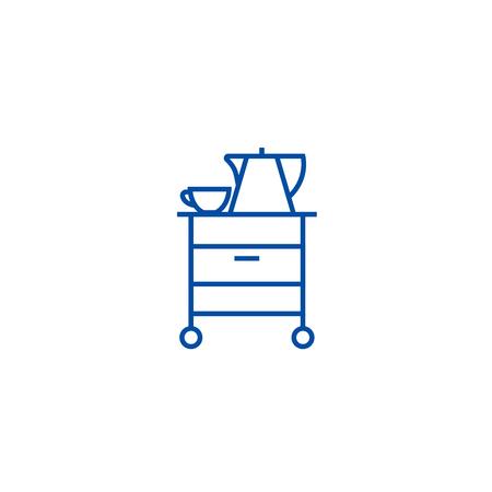 Tea,cupboard line concept icon. Tea,cupboard flat  vector website sign, outline symbol, illustration.