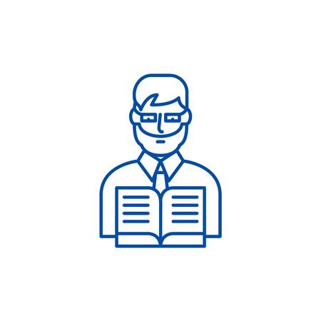 Teacher line concept icon. Teacher flat vector website sign, outline symbol, illustration. Vecteurs
