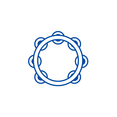 Tambourine line concept icon. Tambourine flat  vector website sign, outline symbol, illustration.