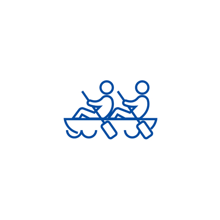 Team spirit,teamwork,canoe line concept icon. Team spirit,teamwork,canoe flat  vector website sign, outline symbol, illustration.