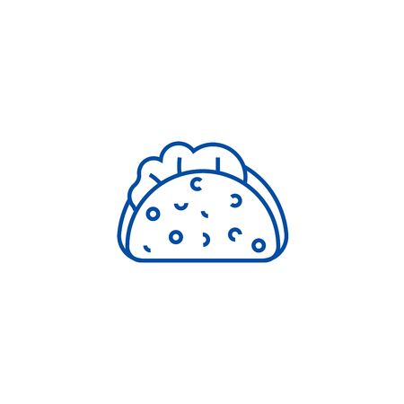 Taco line concept icon. Taco flat  vector website sign, outline symbol, illustration.