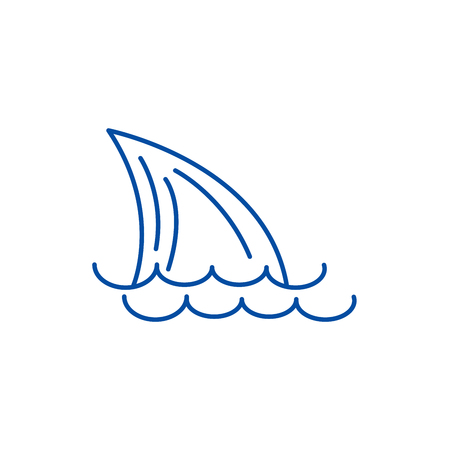 Tail of a shark,sea line concept icon. Tail of a shark,sea flat  vector website sign, outline symbol, illustration.