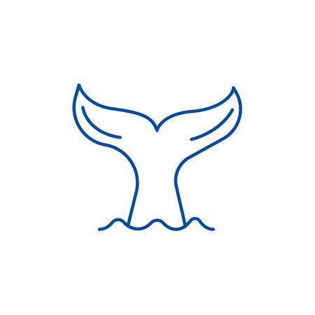 Cola de un icono de concepto de línea de ballena. Cola de un sitio web de vector plano ballena signo, símbolo de contorno, Ilustración. Ilustración de vector