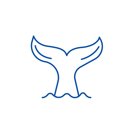 Staart van een walvis lijn icoon concept. Staart van een walvis platte vector website teken, overzichtssymbool, afbeelding. Vector Illustratie