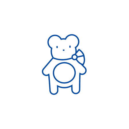 Teddy bear line concept icon. Teddy bear flat  vector website sign, outline symbol, illustration.