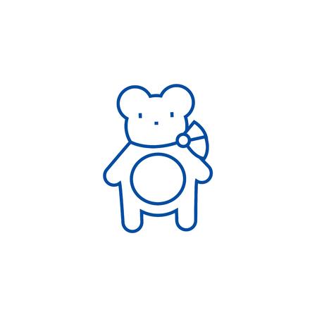 Teddy bear line concept icon. Teddy bear flat  vector website sign, outline symbol, illustration.